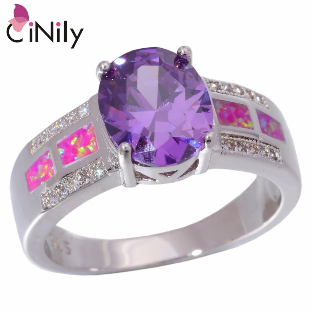 CiNily Created Pink Fire Opal Pueple Zircon Silver Plated Ring Wholesale Hot Wedding for Women Jewelry Ring Size 7 8 9 OJ8901