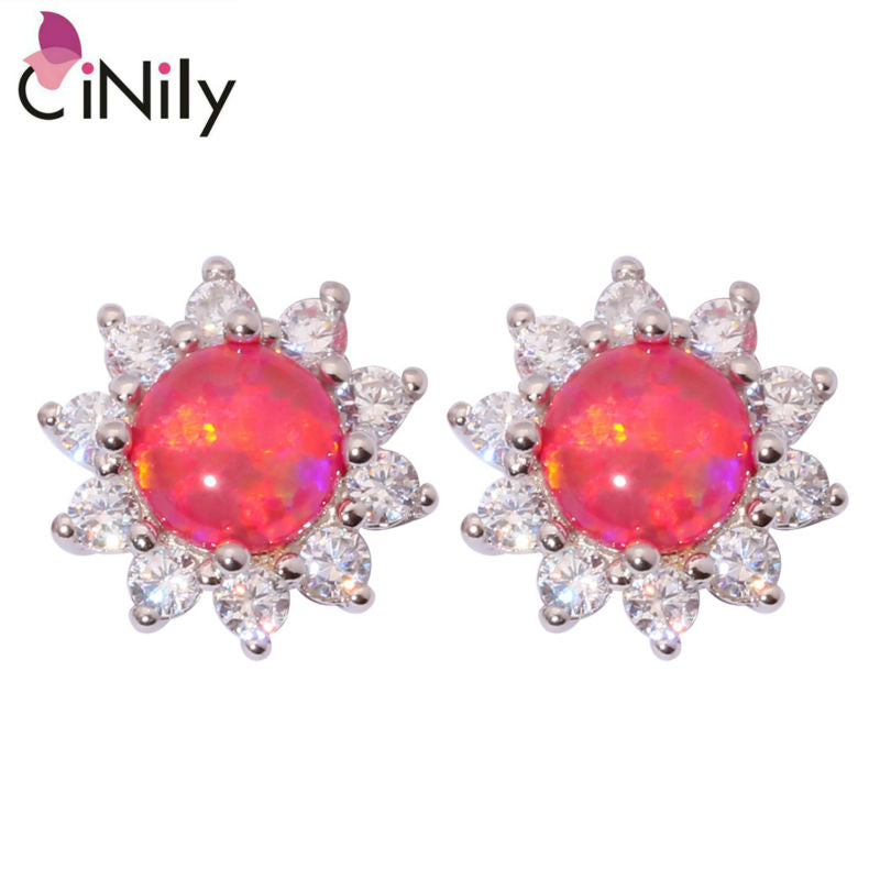 CiNily Created Red Fire Opal Cubic Zirconia Silver Plated Wholesale Hot Sell for Women Jewelry Gift Stud Earrings 12mm OH4110