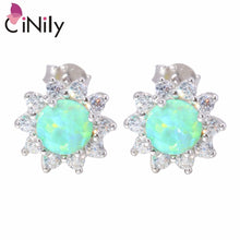 Load image into Gallery viewer, CiNily Created Green White Fire Opal Cubic Zirconia .925 Sterling Silver Wholesale for Women Jewelry Stud Earrings SE020-21