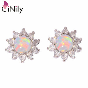 CiNily Created Green White Fire Opal Cubic Zirconia .925 Sterling Silver Wholesale for Women Jewelry Stud Earrings SE020-21