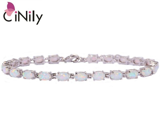 CiNily Created White Blue Pink Fire Opal Silver Plated Wholesale Hot Sell Jewelry for Women Chain Bracelet 8 1/4