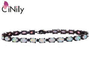 "CiNily Created White Blue Pink Fire Opal Silver Plated Wholesale Hot Sell Jewelry for Women Chain Bracelet 8 1/4"" OD32 OS556-57"