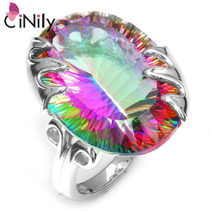 CiNily Created Mystic Stone 100% Authentic. 925 Sterling Silver Wholesale Fashion Jewelry for Women Wedding Ring Size 7-8 SR014