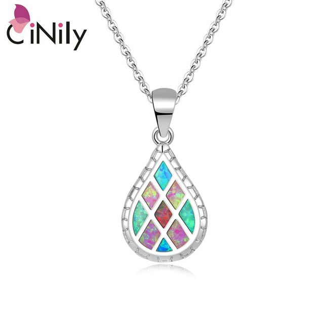 CiNily Created Multi-colors Fire Opal Silver Plated Wholesale Water-drop for Women Jewelry Pendant Without the Chain 32mm OD6943