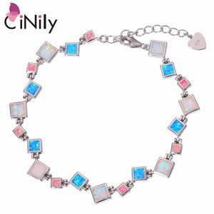 "CiNily Created White Blue Pink Fire Opal Silver Plated Wholesale for Women Jewelry New Year Gift Chain Bracelet 8 3/4"" OS657"