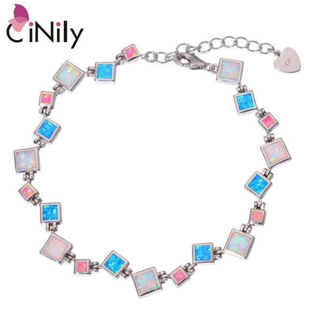 CiNily Created White Blue Pink Fire Opal Silver Plated Wholesale for Women Jewelry New Year Gift Chain Bracelet 8 3/4