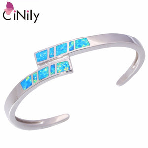 "CiNily Created Blue Orange  Fire Opal Silver Plated Wholesale Hot Sell Fashion Jewelry for Women Bangle Bracelet 7"" OS448-49"