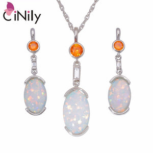 CiNily Created White Blue Fire Opal Garnet Silver Plated Wholesale for Women Pendant Necklace Stud Earring Jewelry Set OT167-68