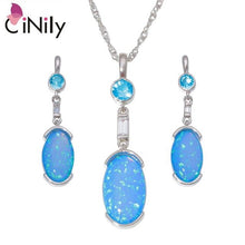 Load image into Gallery viewer, CiNily Created White Blue Fire Opal Garnet Silver Plated Wholesale for Women Pendant Necklace Stud Earring Jewelry Set OT167-68
