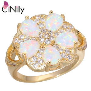 CiNily Created White Fire Opal Cubic Zircon Yellow Gold Color Wholesale for Women Jewelry Engagement Ring Size 7-9 OJ9285