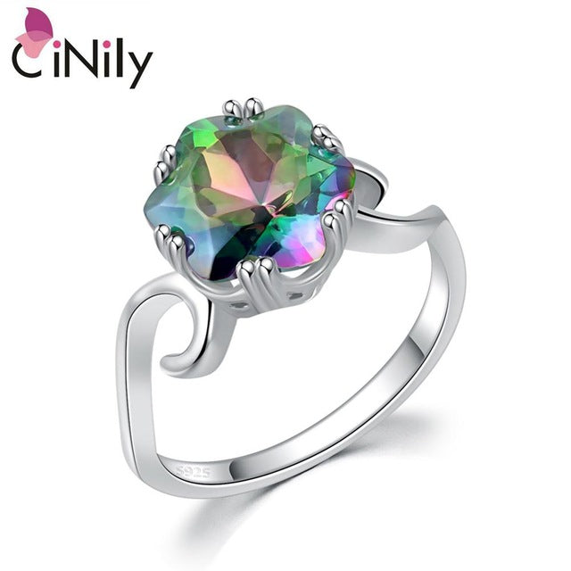 CiNily 100% Solid 925 Sterling Silver Created Mystic Stone Wholesale for Women Jewelry Engagement Wedding Ring Size 7-8 SR015