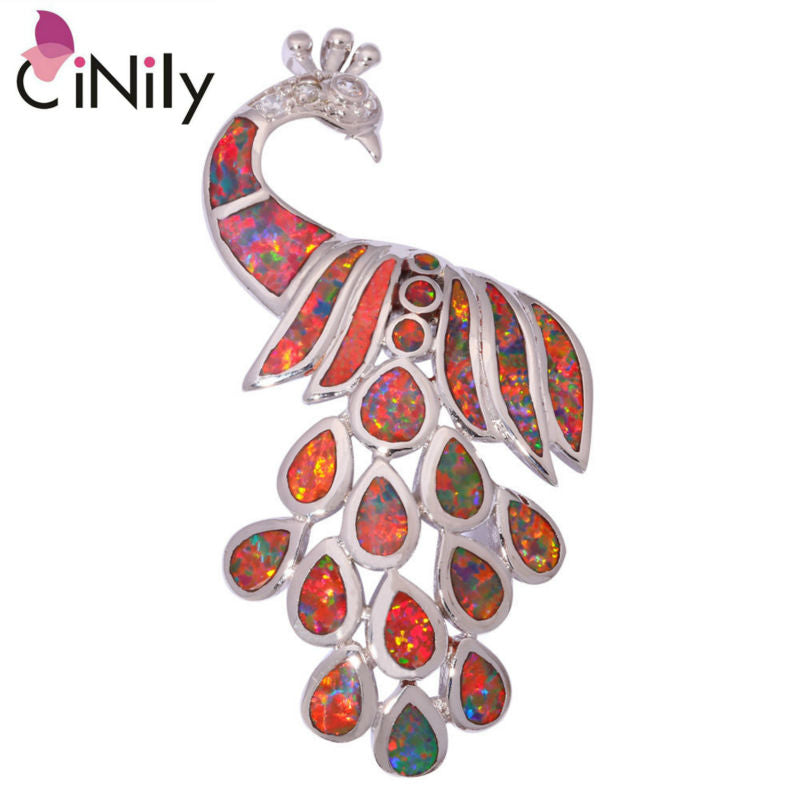 CiNily Created Orange Fire Opal Cubic Zirconia Silver Plated Wholesale Peacock for Women Jewelry  Pendant 2 1/8