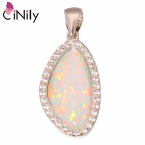 "CiNily Created White Fire Opal Cubic Zirconia Silver Plated Wholesale for Women Jewelry Pendant 1 1/4"" OD4362"