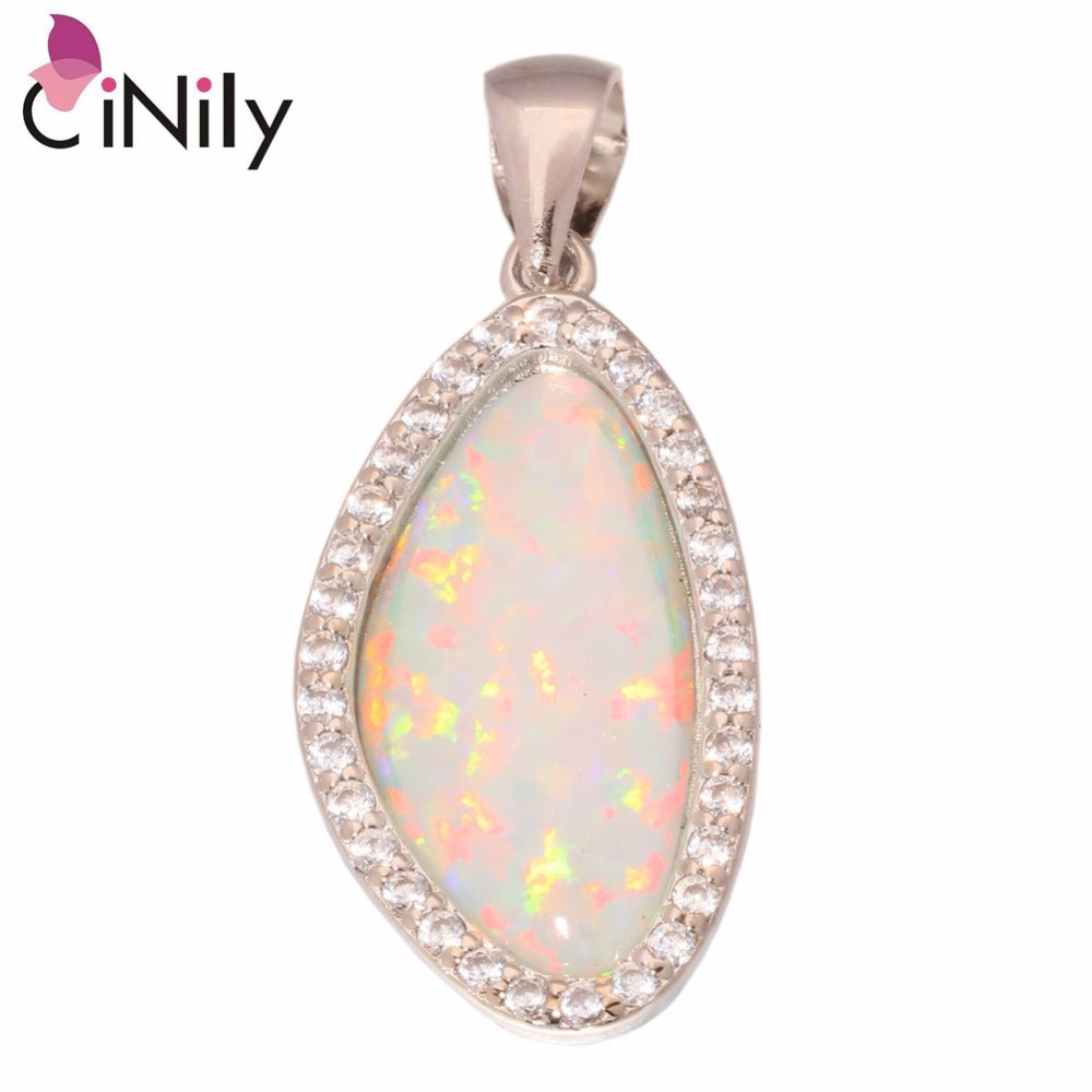 CiNily Created White Fire Opal Cubic Zirconia Silver Plated Wholesale for Women Jewelry Pendant 1 1/4