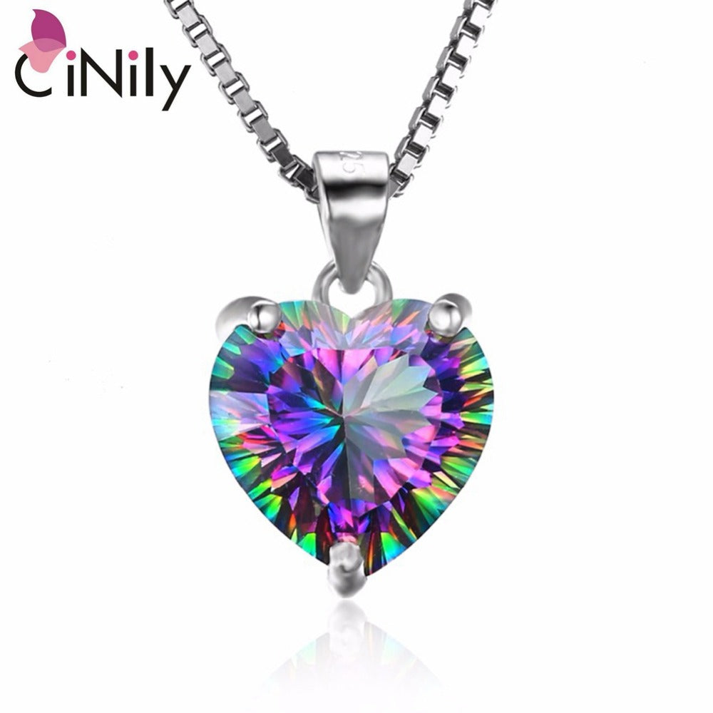 CiNily Created Mystic Stone Authentic. 925 Sterling Silver Wholesale Heart  for Women Jewelry Pendant Without the Chain SP018