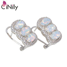 Load image into Gallery viewer, CiNily Created White Blue Fire Opal Cubic Zirconia Silver Plated Wholesale for Women Jewelry Clip Earrings 16mm OH4490-91