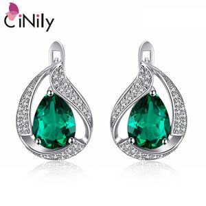 "CiNily 100% Solid 925 Sterling Silver Created Green Stone Cubic Zirconia Wholesale for Women Jewelry Clip Earrings 3/4"" SE038"