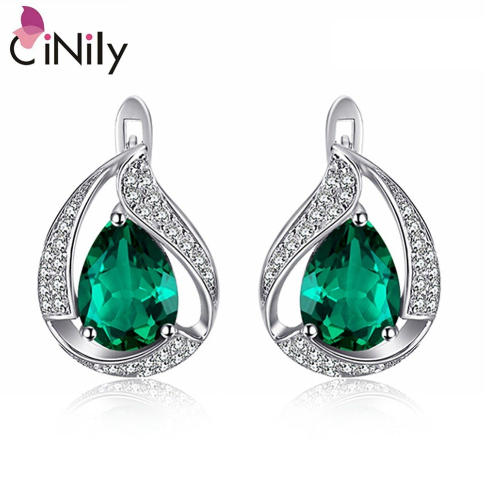 CiNily 100% Solid 925 Sterling Silver Created Green Stone Cubic Zirconia Wholesale for Women Jewelry Clip Earrings 3/4