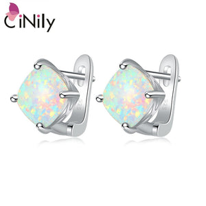CiNily Created White Pink Fire Opal Silver Plated Wholesale Hot Sell Fashion for Women Jewelry Clip Earrings 15mm OH4270-71