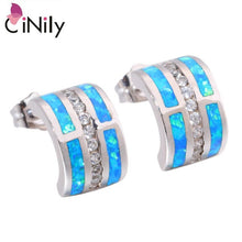 Load image into Gallery viewer, CiNily Created Blue Green Fire Opal Cubic Zirconia Silver Plated Wholesale for Women Jewelry GIFT Stud Earrings 12mm OH4422-23