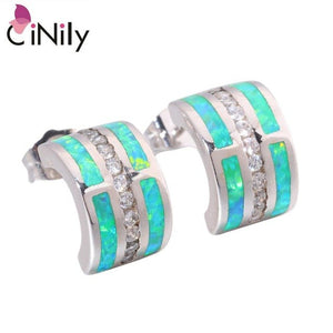 CiNily Created Blue Green Fire Opal Cubic Zirconia Silver Plated Wholesale for Women Jewelry GIFT Stud Earrings 12mm OH4422-23