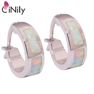 CiNily Created White Fire Opal Silver Plated Earrings Wholesale Retail Hot Sell Fashion for Women Jewelry Earrings 18mm OH2661