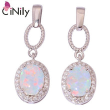 Load image into Gallery viewer, CiNily Created White Fire Opal Cubic Zirconia Silver Plated Wholesale for Women Jewelry Wedding Party Stud Earrings 25mm OH4356