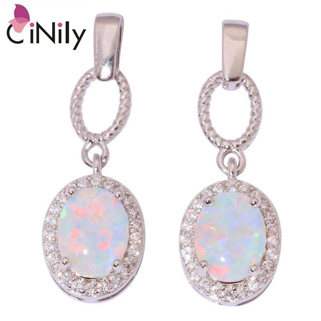 CiNily Created White Fire Opal Cubic Zirconia Silver Plated Wholesale for Women Jewelry Wedding Party Stud Earrings 25mm OH4356