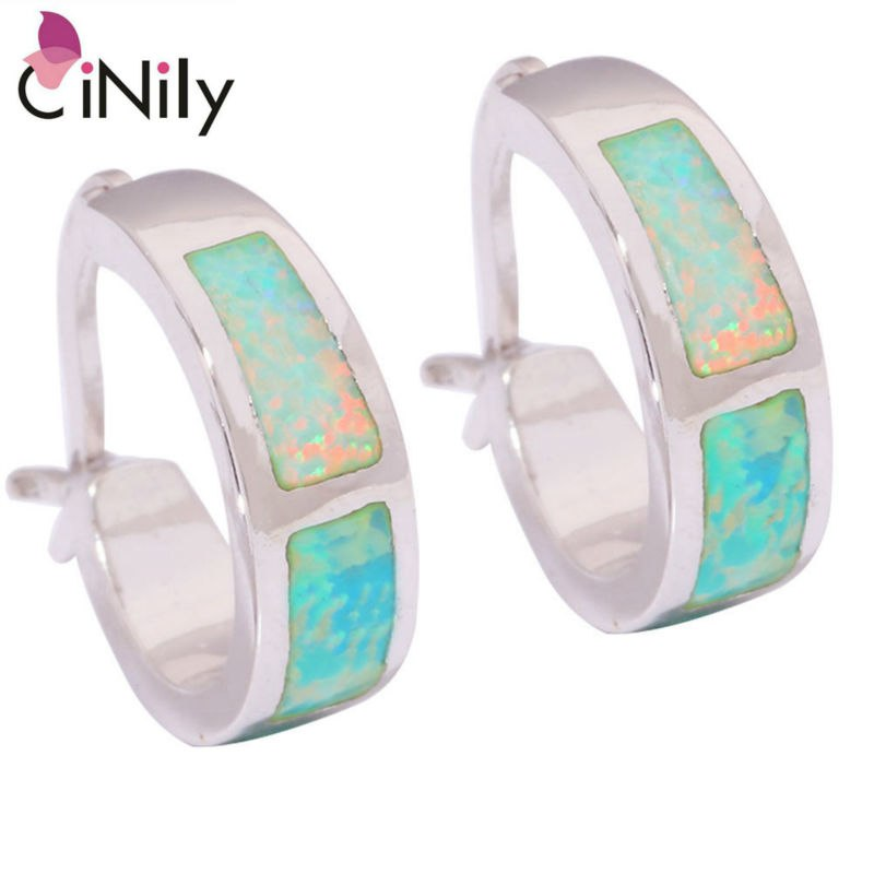 CiNily Created Green Fire Opal Silver Plated Earrings Wholesale Retail for Women Jewelry Earrings 13mm OH2660