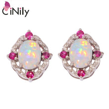 Load image into Gallery viewer, CiNily Created White Fire Opal Kunzite Purple Cubic Zirconia Silver Plated Wholesale Women Jewelry Stud Earrings 14mm OH4341-42