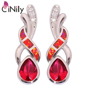 CiNily Created Blue Red Fire Opal Purple Red Zircon Cubic Zirconia Silver Plated Wholesale Women Jewelry Stud Earrings OH4170-71