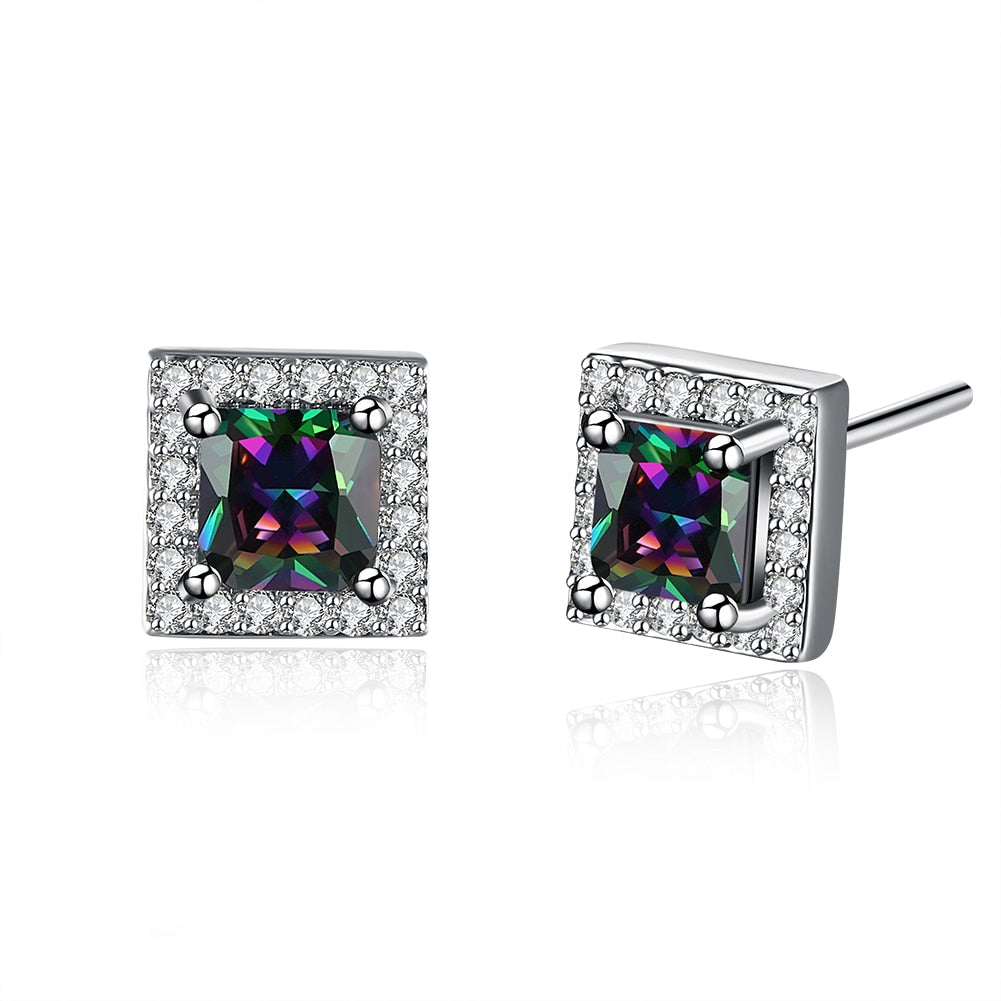 silver color 8mm square stone rainbow stud earring for women wholesale factory price fashion jewelry engagement wedding earrings