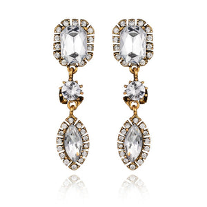 simple fashion design Luxurious Crystal element water drop crystal Eye Temperament Stud Earring Women