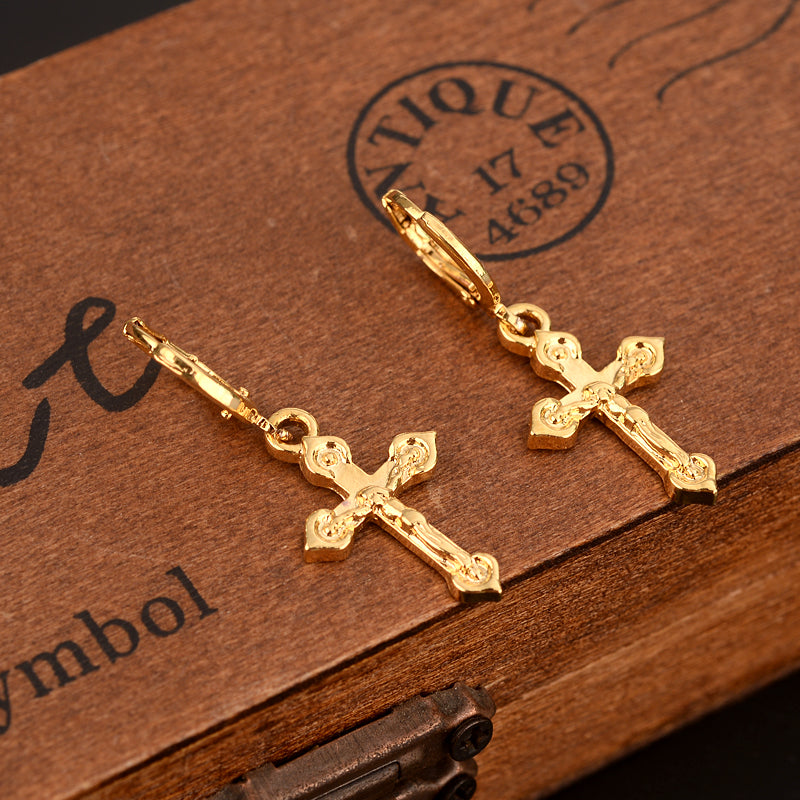 small cross drop earring lovely Jesus Christian Gold Dubai african Arab Middle Eastern Jewelry for women Mom kids Gifts