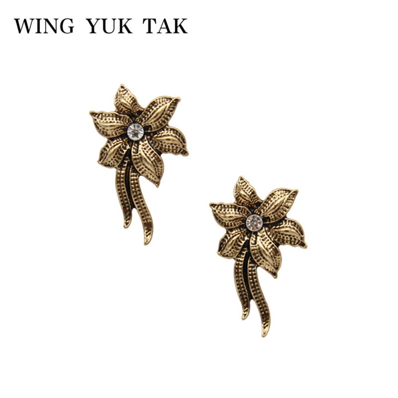 Fashion Vintage Flower Stud Earring For Women Metal Statement Earrings Charm Brand Jewelry