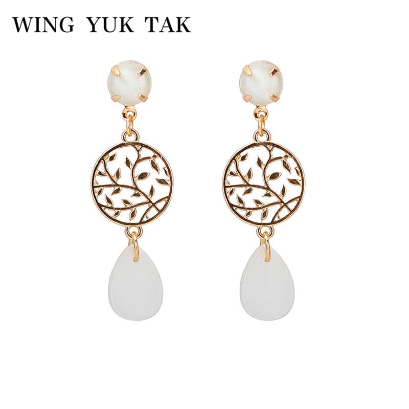 Office Earrings Women Gold Color Hollow Leaves Simple Opals Stone Drop Earrings 2018 New Fashion Jewelry