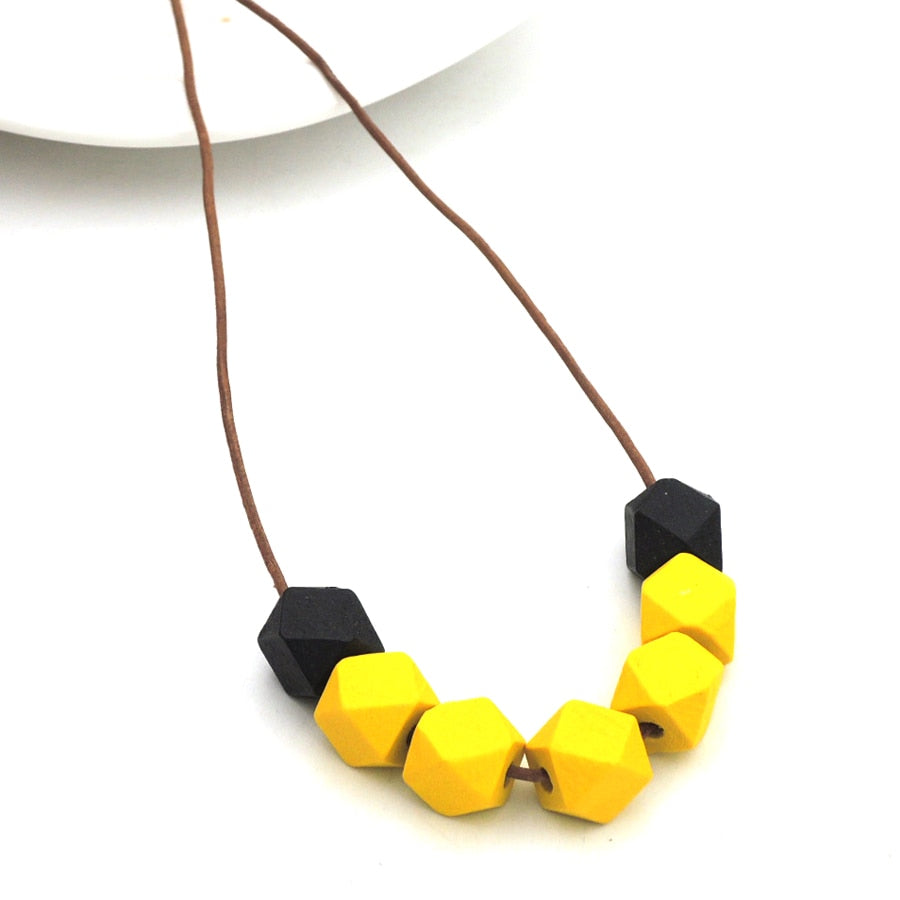 yellow black wood geometric necklace minimalist statement abstract leather cord adjustable NW344