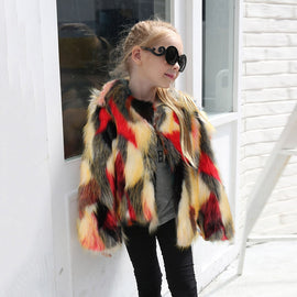 Baby Girl Stylish Furry Faux Fur Coat Waterfall Winter Warm Clothes