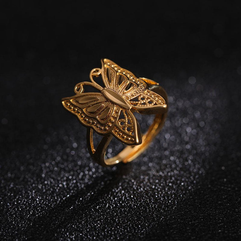24k Gold Butterfly Ring (Resizable)