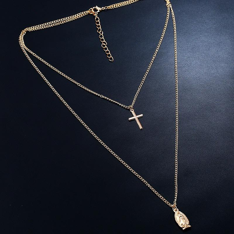 Crucifix 2 Layered Pendant Necklace