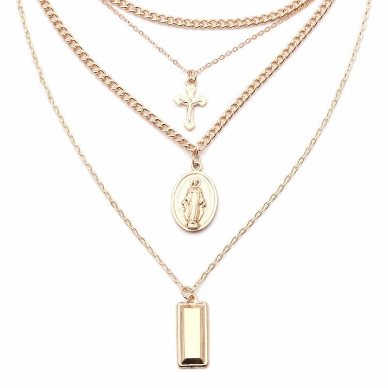 Holy Cross with Blessed Virgin Mary Layered Necklace