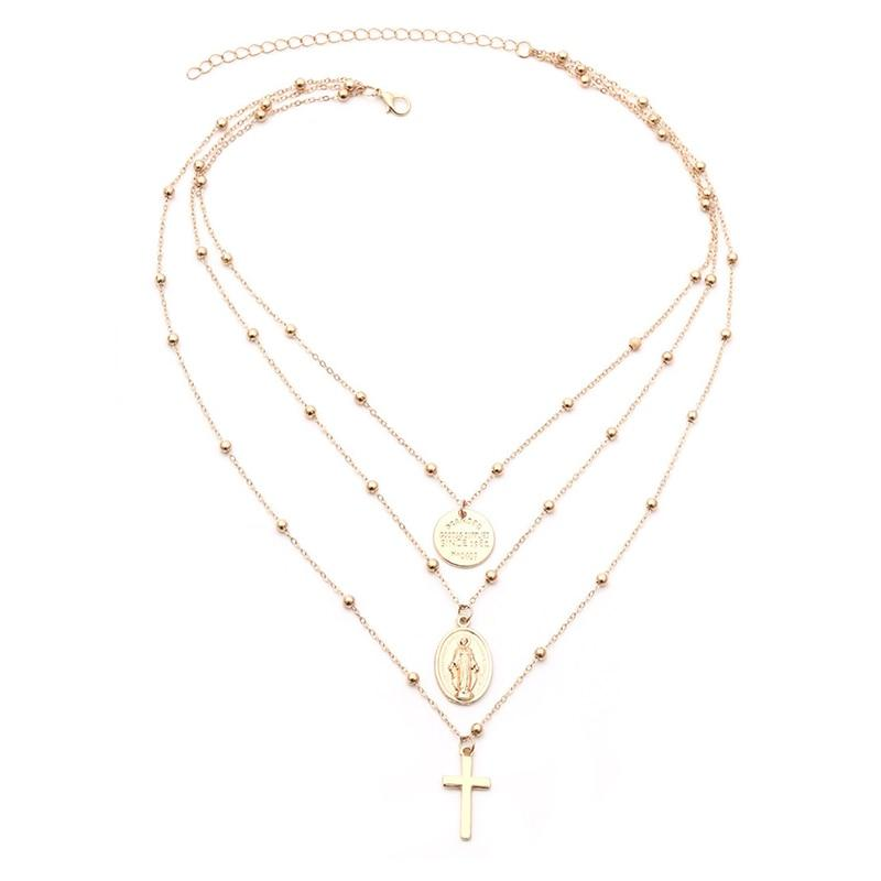 Bohemian Holy Cross and Virgin Mary Multi Layered Necklace