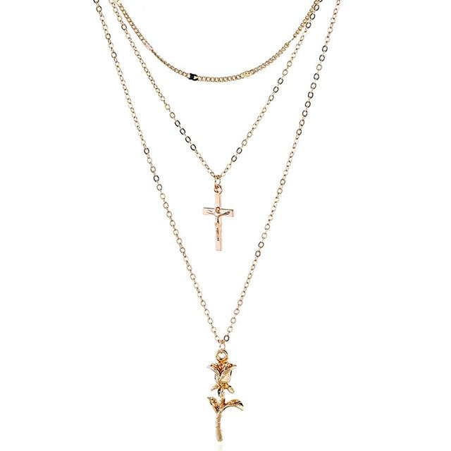 Boho Romantic Rose Cross Elegant Necklace
