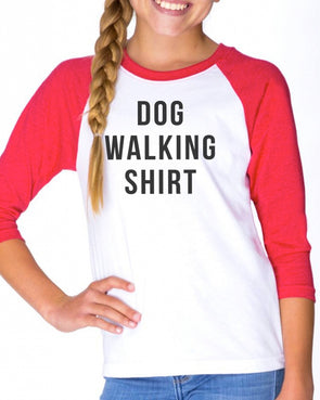 Youth Girls | Dog Walking Shirt | Raglan
