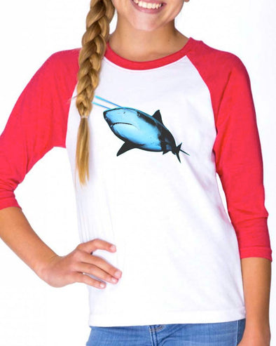 Youth Girls | Laser Eye Shark | Raglan
