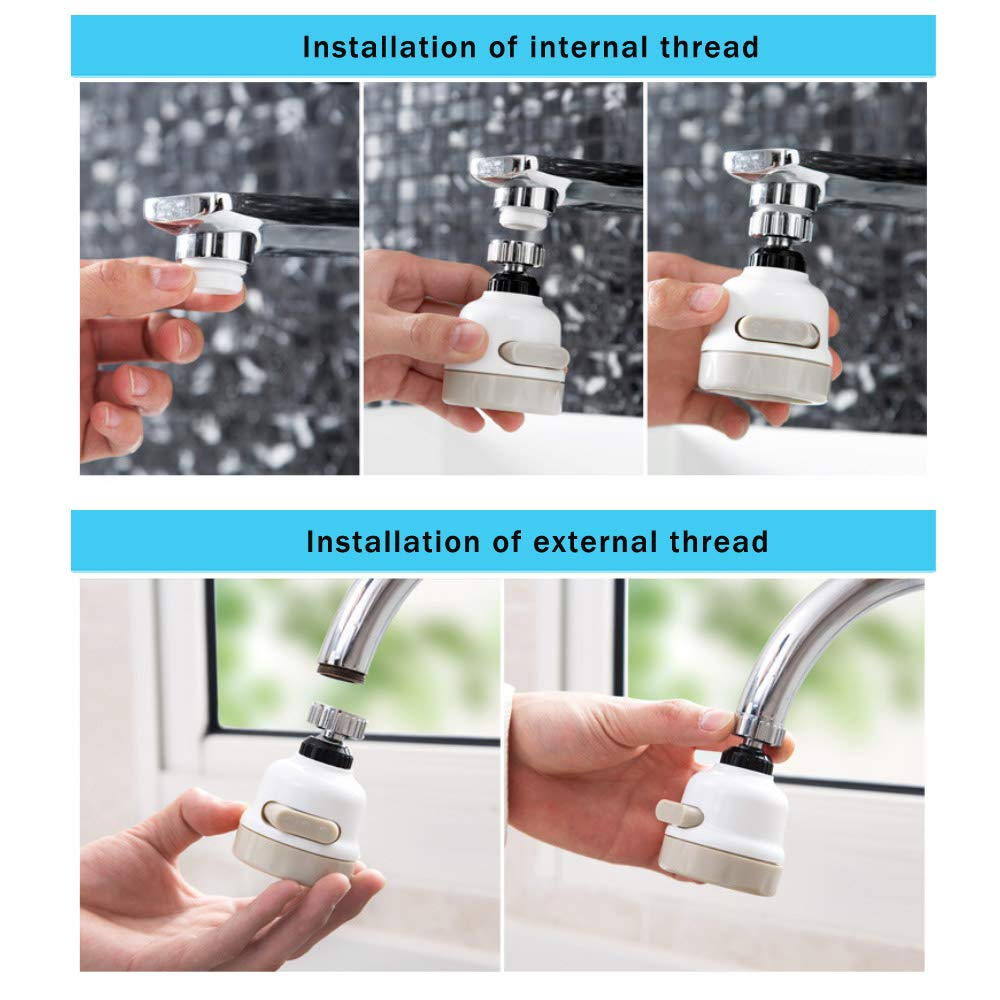 360°Swivel Faucet Tap Aerator Diffuser Nozzle, Kitchen Bathroom Shower Faucet Splash-Proof Filter Three Gear Adjustable Tap Water-Saving Device Head Nozzle