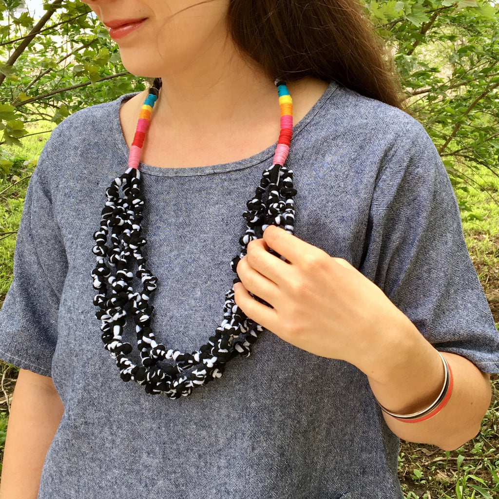 Knotted Fabric Necklace - Two Ways