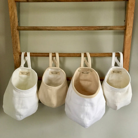 White and Natural Hanging Storage Pods