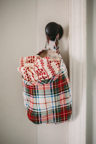 Red Plaid Hanging Storage Pods
