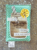 Sweet Tea Fabric Postcard on Teal